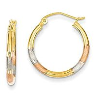 Amazon.com: 14k Gold Tri-color 2mm Diamond-cut Earrings ...