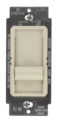 Leviton 6615-P0T SureSlide 300W Preset Electronic Low-Voltage Dimmer, Single Pole or 3-Way, Light Almond