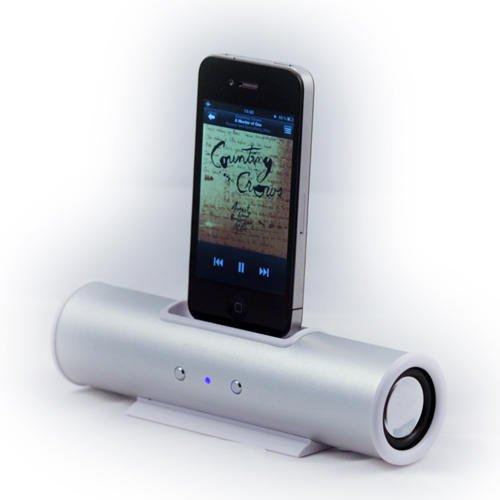 Silver Music Angel Tube Speaker Dock for iPhone & iPod