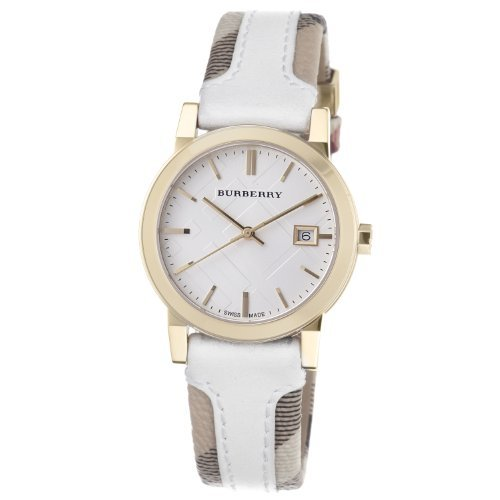 s bu9110 large check leather strip,burberry women,fabric watch,video review,(VIDEO Review) Burberry Women's BU9110 Large Check Leather Strip On Fabric Watch,