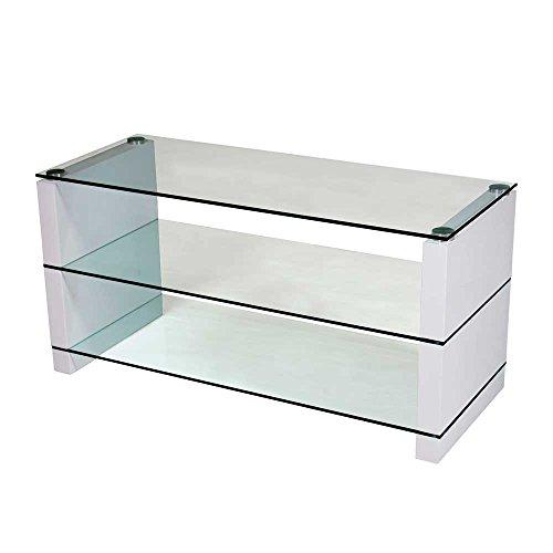 TV Tisch aus Glas Weiß Hochglanz Pharao24
