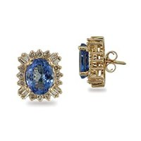 Amazon.com: 14K Gold Tanzanite and Diamond Earrings: Jewelry