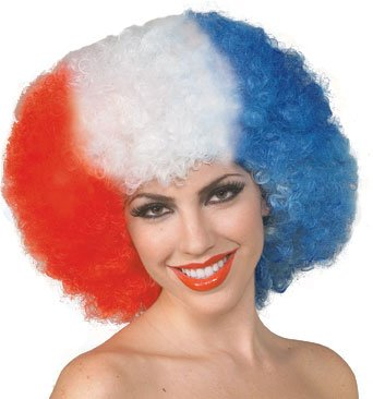 Adult Red White & Blue Afro Wig
