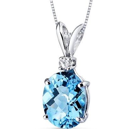 14-Karat-White-Gold-Oval-Shape-300-Carats-Swiss-Blue-Topaz-Diamond-Pendant