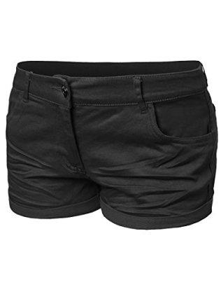 Basic-Solid-Trendy-Colorful-Shorts-Black-L