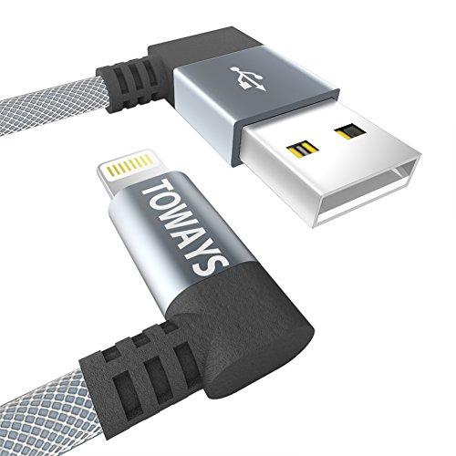 Toways iPhone USB L字コネクター ケーブル 1.2m グレー 防弾仕様の高耐久素材 急速充電 高速データ通信対応 Lightning iPhone 7 / 7 Plus / SE / 6S / 6 / 6 Plus / 5 / iPad / iPod用ライトニング Apple MFi認証