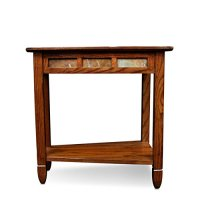 Leick 10056 Rustic Oak Slate Tile Recliner Wedge End Table ...