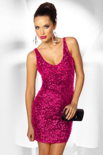 LH Dessous 12373 pink Größe S-M. Elastisches und figurbetonendes Mini-Kleid, welches mit vielen Pailletten verziert ist. Er hat vorne und hinten einen schönen V-Ausschnitt