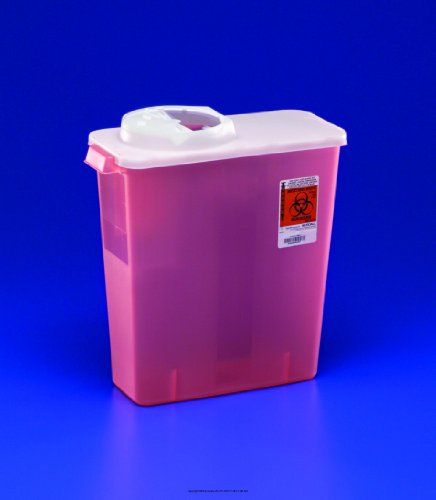 DialySafety Dialysis Sharps Disposal Containers with Rotor & Hinged Opening Lid-(1 CASE, 20 EACH)