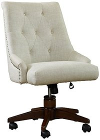 Bel-Aire Linen Adjustable Height Swivel Desk Chair ...