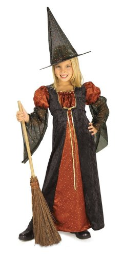 Halloween Concepts Child's Orange Glitter Witch Costume, Small