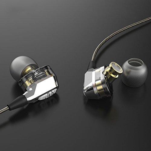 CollectionAudio 高音質 カナル型 イヤホン ヘッドホン 2ドライバ搭載 6mm 遮音 リモコン無し シルバー VJJB-V1