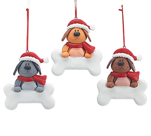 Clay Dough Dog Christmas Ornament - Set of 3
