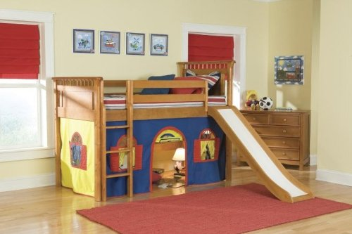 Bennington Twin Low Loft Tent Bed with Built-In Ladder Configuration: Low Loft Bed with Bottom Curtain and Slide