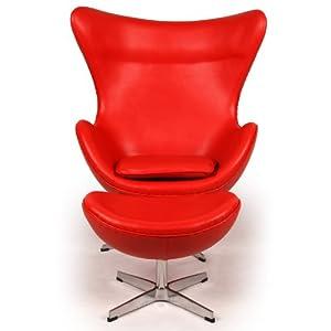 Amazoncom  Kardiel Egg Chair  Ottoman Red Aniline