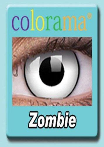 Farbige Kontaktlinsen Crazy Lenses Kostüm Karneval WHITE ZOMBIE / WEISS MIT SCHWARZEM RAND weiß