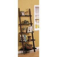 Amazon.com - Dark Espresso Brown Leaning Bookcase ...
