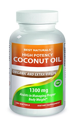Coconut oil 1300 mg Softgel 180 Count High Potency
