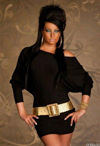 Hochwertiges Strick Minikleid Sexy und Elegantes Damen Kleid Ohne Breitem Gold Gürtel Einheitsgröße M/L (Gr. 38/40) in Schwarz mit 20% Kaschmir Anteil