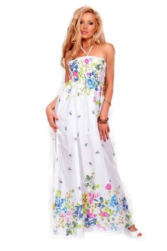 Astrapahl, sehr schönes sommerliches langes Kleid, Farbe weiss-blau-grün, Gr. One Size