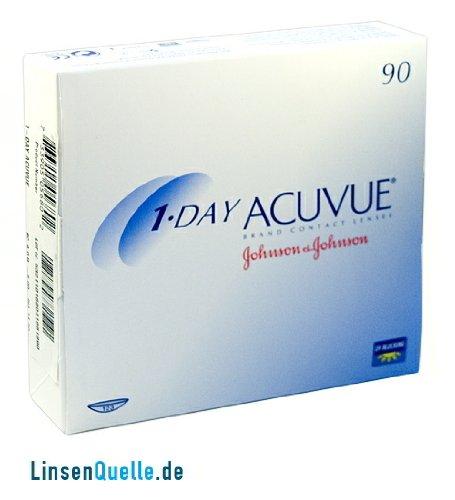 Johnson&Johnson, 1-Day Acuvue Tageslinsen, Packung mit 90 Kontaktlinsen (BC-Wert: 9.00 / Dia: 14.2 mm)
