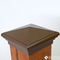6x6 Post Cap - (Nominal) Mocha Brown Pyramid Top - With 10 ...