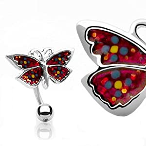 Butterfly belly button ring Top Mounted