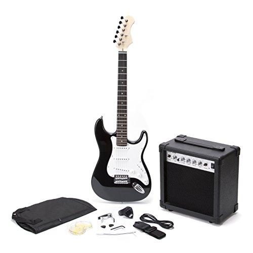 RockJam RJEGPKG elektrische Gitarre (Verstärker, Tuner, Kapodaster, Plektren, Reisetasche, Zubehör)
