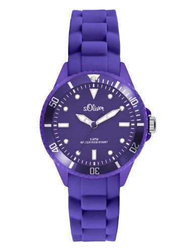 s.Oliver Damen-Armbanduhr Small Size Silikon violett SO-2310-PQ