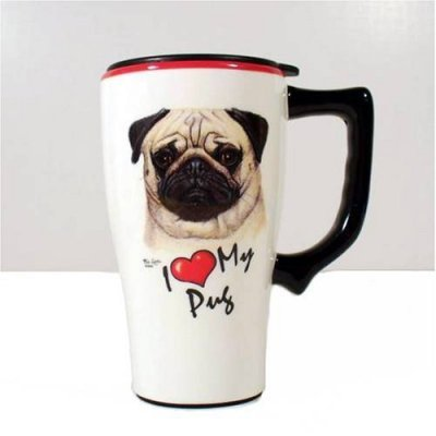 PUG dog puppy COFFEE cup TRAVEL Mug ART decor NEW