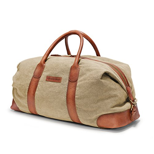 DRAKENSBERG-Kimberley-Duffel-Weekender-large-travel-bag-holdall-carry-all-canvas-buffalo-leather-safari-style
