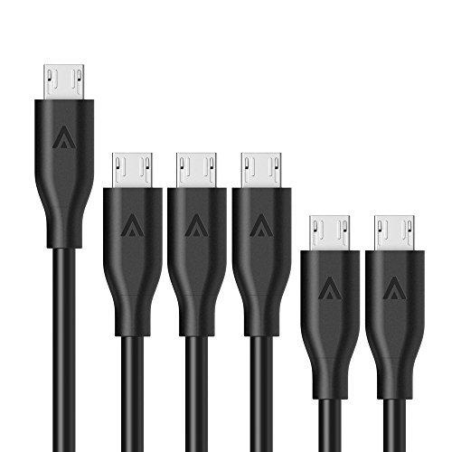 【6本セット】Anker PowerLine Micro USBケーブル 【高耐久ケブラー繊維】 急速充電 高速データ転送対応 Galaxy / Xperia / Nexus / Android各種スマートフォンタブレット / 電子書籍 / カメラ/ 携帯ゲーム機他対応 0.3m×2、0.9m×3、1.8m×1