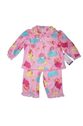 Disney-Baby-Girls-Princesses-with-Glittery-Ruffles-Pajama-Set-2T-Pink