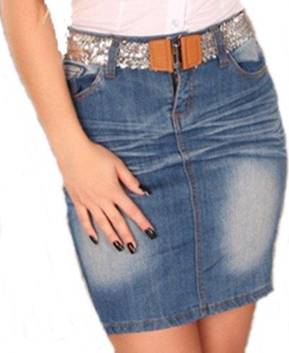 *KNACK-PO!* 5-Pocket Jeans-MiniRock mit Schlitz Trendy Waschung Blau Top Jeans Mini Rock mit Pailletten-Gürtel Gr. 34 36 38 40