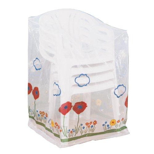 Wenko 5827121100 Schutzhülle Wiese für Stapelsessel - Kunststoff, 68 x 92 x 68 cm, transparent