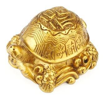 長寿 幸運 金運アップに きらめく 金の 亀 置物 (大(9.5×8.5×6cm))
