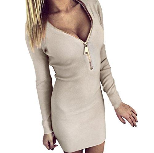 Mini-Kleid-mit-tiefer-V-Kragenschnitt