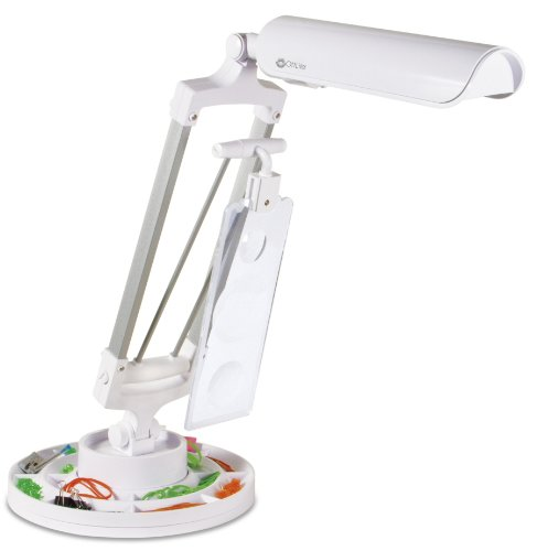 OttLite 982003 Spin and Store Desk Lamp in White
