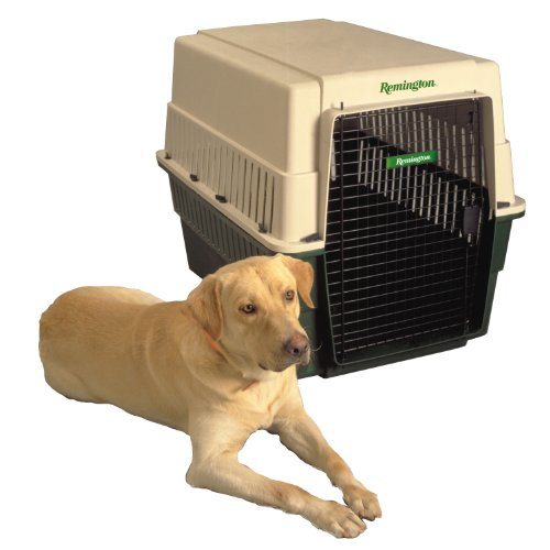Remington Plastic Kennel, Extra Large, 40-Inch L by 27-Inch W by 30-Inch H, Beige/Green