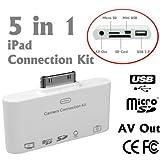 5 in 1 AV-Ausgang Camera Connection Kit Card Reader für USB Keyboard, SD, MicroSD, Mini USB und Sync Bilder / Fotos und Video auf iTunes für Apple iPad, iPad 2