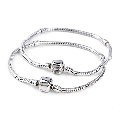 Yeshan 5PCS Women Silver Plated Bracelet Snake Chain With