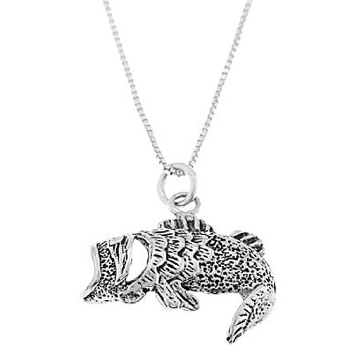 STERLING SILVER OPEN MOUTH BASS FISH CHARM WITH 16