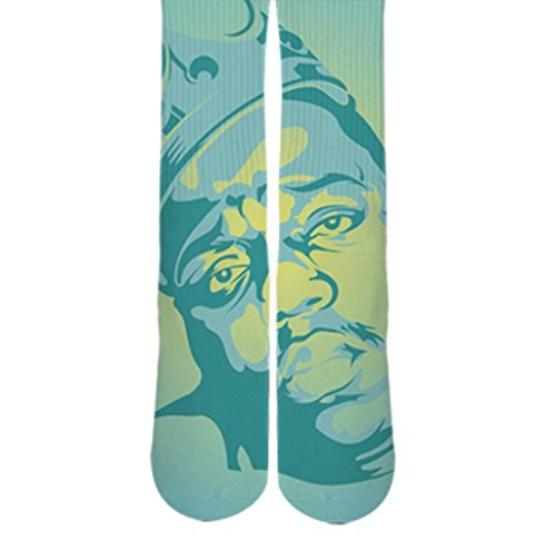 DopeSox Men's Notorious B.I.G Full Print Urban Socks One Size (6-12) White