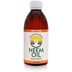 Neem Oil - 8 Oz/ 236 ml - Certified Organic - 100% Pure - By GuruNanda