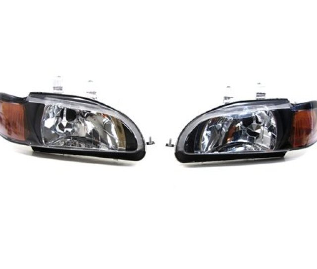 92 95 Honda Civic Coupe Hatchback Black Housing Headlights Hid Kits Diamond White 6000k