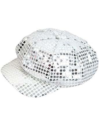 Amazon.com: Funky Retro Silver Costume Sequin Newsboy