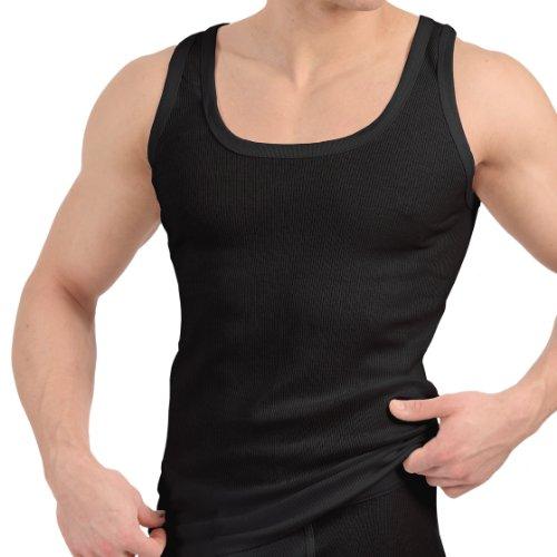 4er Pack Tank Top schwarz – Herren Unterhemd Feinripp (glatt) – Sportjacke – 100% gekämmte Baumwolle – Highest Standard – Einlaufvorbehandelt – original CELODORO Exclusive