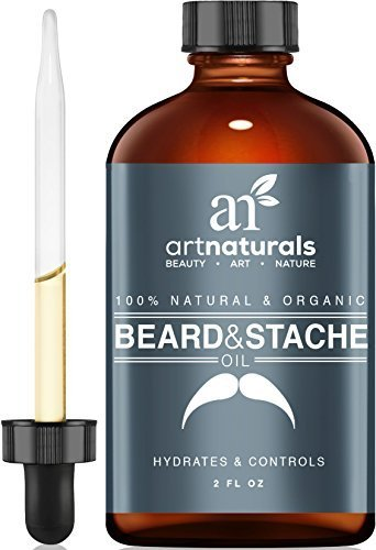 Art Naturals® Organic Beard Oil & Leave-In Conditioner 2 oz- 100% Pure & Natural Unscented – Best for Groomed Beard Growth, Mustache, Face and Skin Softens Your Beard and Stops Itching & Treats Acne
