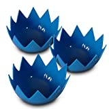 LotusPoachers Silicone Egg Poachers (Set of 3)...Brand-New-Design...Premium Non Stick Egg Poaching Cups...Blue