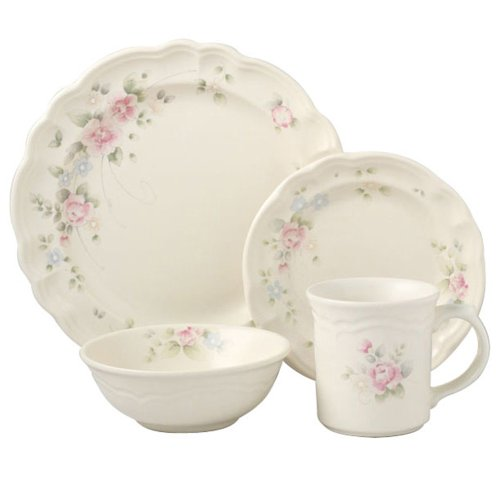 Pfaltzgraff Tea Rose 16-Piece Dinnerware Set, Service for 4